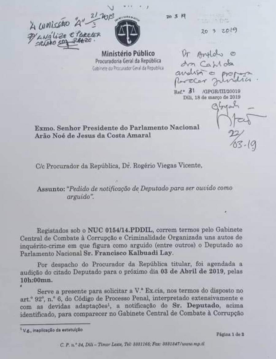 MP Kontinua Investiga Sekjer CNRT