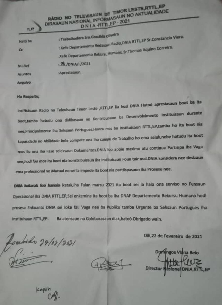 Tatoli I.P. Loke Vaga, RTTL E.P. Koko 'Tebe Sai' Nia Jornalista Ida
