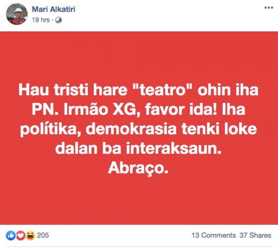Alkatiri Ataka Iha Facebook, Xanana Kontra Iha PN
