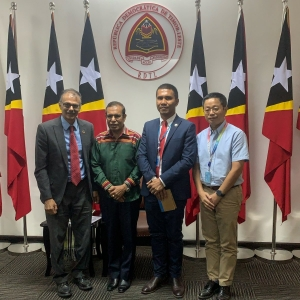UN Resident Coordinator Roy Trivedy (Left) and Timor-Leste's Prime Minister Taur Matan Ruak (second from left), Alex Tilman and another UN staff during a meeting with Prime Minister in the Government Building in Dili few months ago.
