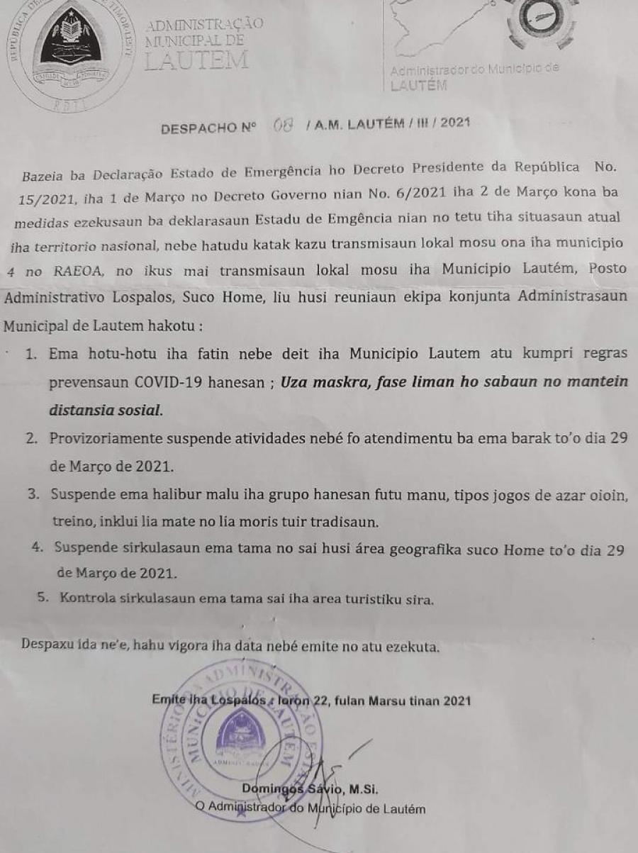 AML Suspende Suku Home Husi Serkulasaun Komunidade